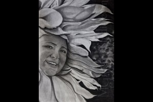 "Flowergirl 18""x24"" Charcoal on Paper 080601-0"