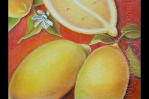 "Cut Lemons 18""x24"" Pastel on Paper 080301-0"