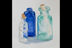 "Glass Bottles 5""x7"" Watercolor on Arches Paper 040000-1"