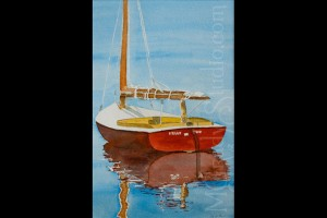 "Kelly's Sailboat 8""x12"" Watercolor on Paper 050000-2"