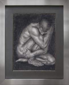 "Physique  |  18"" x 24"" Conté on Paper framed"